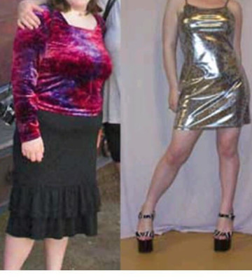 Before and After Silver Dress