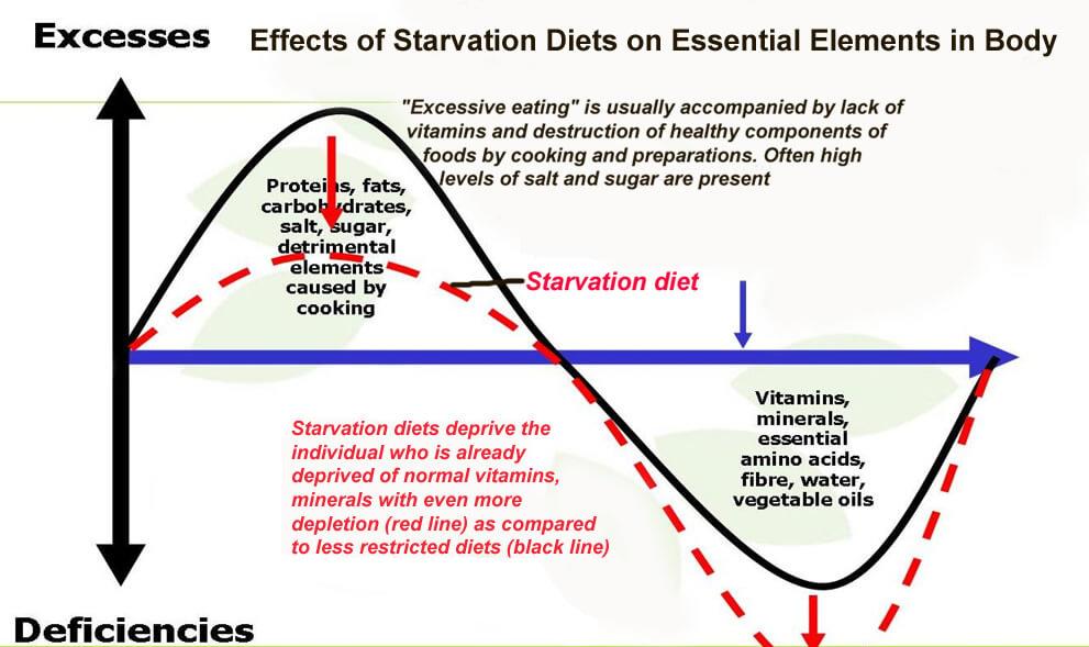 Starvation Diet Deficiencies and Vitamin Losses